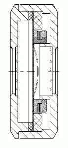 Разрез оптического компонента с электромагнитным актюатором